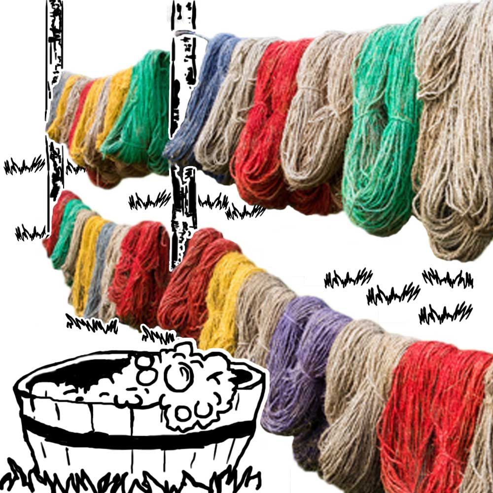3️⃣  CLEANING - All the yarn gets cleaned. Balls of yarn are unwound And knitwear gets unravelled. They're made into hanks and soaked in a vinegar bath for a few days. Then hung out on the washing line to dry.