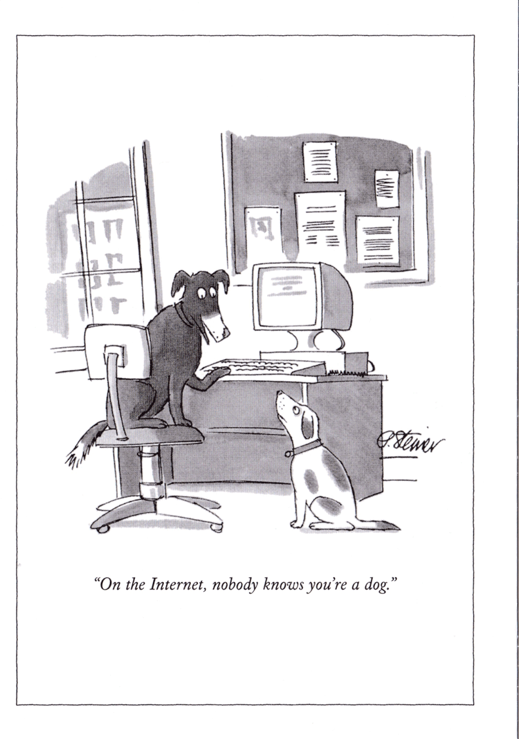 """""""ON THE INTERNET, NOBODY KNOWS YOU'RE A DOG"""" BY PETER STEINER. PUBLISHED 5 JULY 1993"""