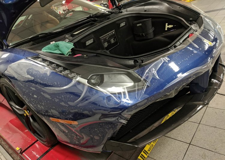 Ferrari 488 getting Xpel Ultimate paint protection film on front bumper