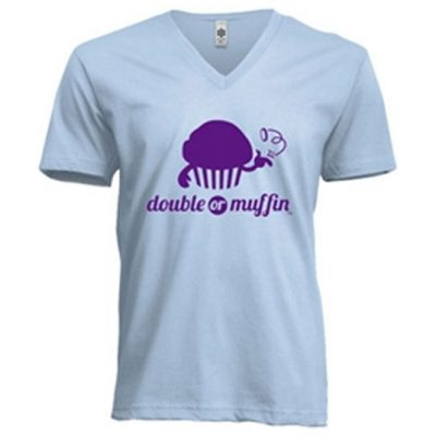 "Light Blue V-Neck With ""Nouveau"" Purple Logo - $20.00 - SOLD OUT"