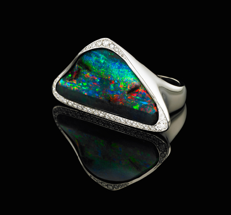 'CORVUS' ring with queensland bolder opal in 18ct white gold with round brilliant cut diamonds