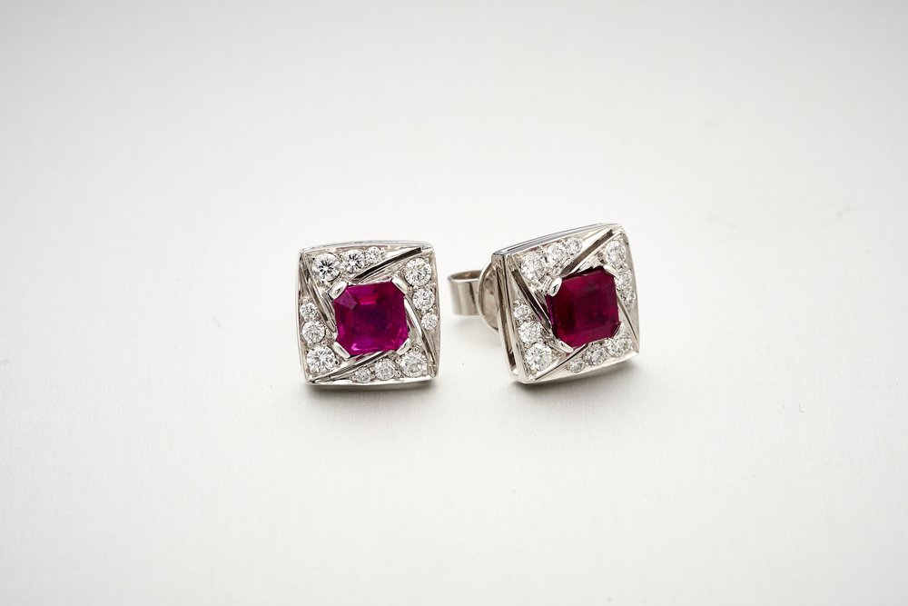BUNDA Arya Ruby and Diamond Earrings
