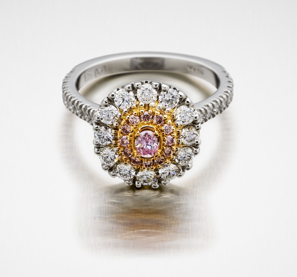 10. 'Valentin' Pink and White Diamond Engagement Ring