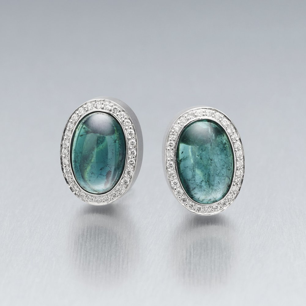 4.	'Corvus' Tourmaline and Diamond Stud Earrings