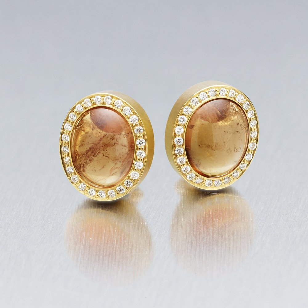 9.	'Corvus' Tourmaline and Diamond Stud Earrings