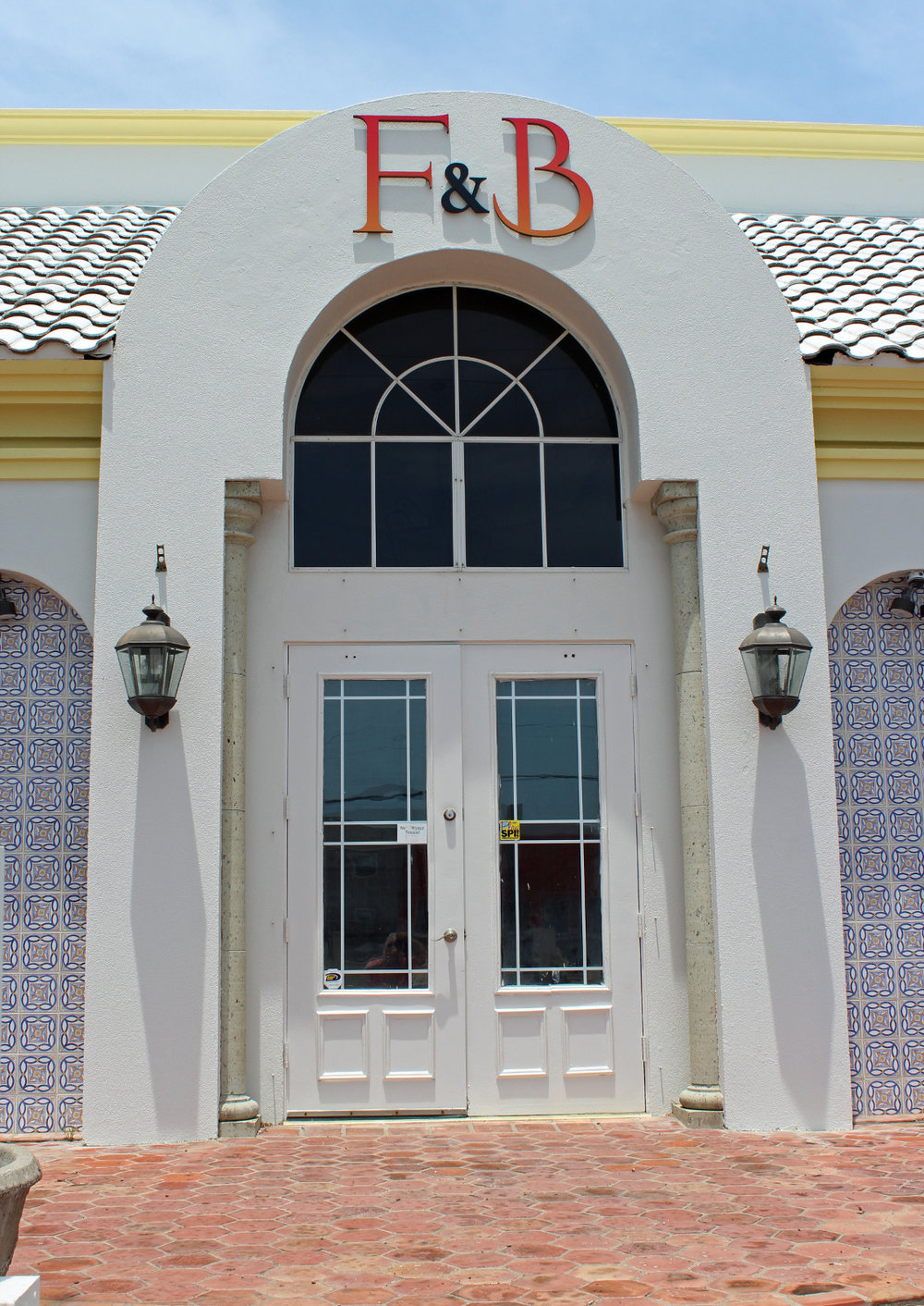The façade of the restaurant features its straightforward name. F&B stands for Food and Beverage. (VBR)