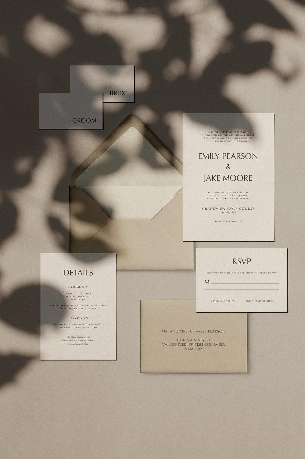 Pine Semi-Custom invitation suite