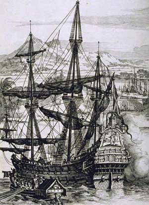A galleon of the type that brought the first Spanish explorers