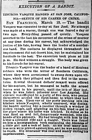 A New York Tribune story on the hanging of romantic bandit, Tiburcio Vasquez in 1875.