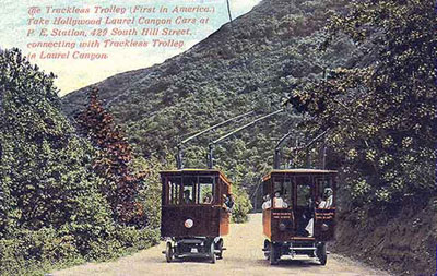 The trackless trolley on Laurel Canyon Boulevard, around 1913.