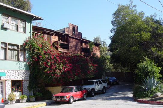 Jim Morrison's house, which was recently remodeled, is next door to the Canyon Cleaners and behind the Country Store.