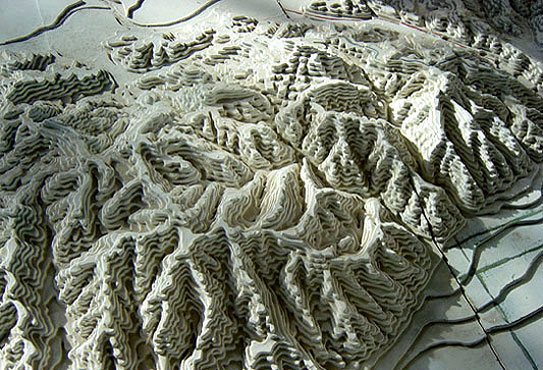 A topography model exhibited at the Franklin Canyon Park museum showing Laurel Canyon.