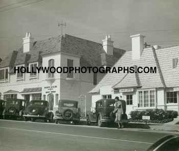 Sunset Boulevard with Regency style shops, circa 1930. Courtesy HollywoodPhotographs.com.