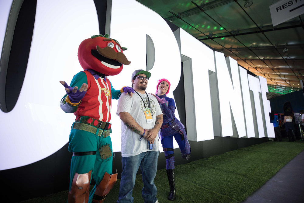 Fortnite characters posing in front of welcome sign at TwitchCon, San Jose Convention Center on October 26, 2018 in San Jose, California.   Photo by Hannah Smith / ESPAT Media