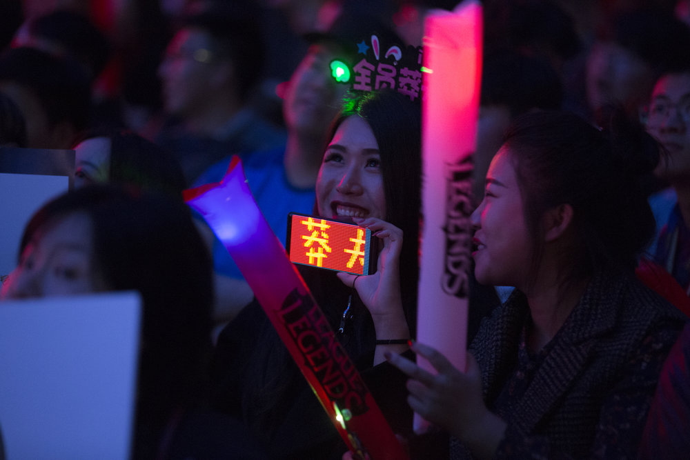 Fans watch semifinals of the League Of Legends Worlds Championship on October 27, 2018 at the Gwangju Women's University Universiade Gymnasium in Gwangju, South Korea. (Photo by Timo Verdeil / ESPAT Media)