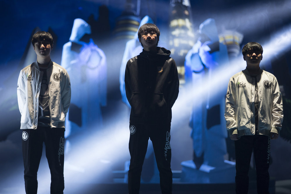 Introducing Invictus Gaming onstage at semifinals of the League Of Legends Worlds Championship on October 27, 2018 at the Gwangju Women's University Universiade Gymnasium in Gwangju, South Korea. (Photo by Timo Verdeil / ESPAT Media)