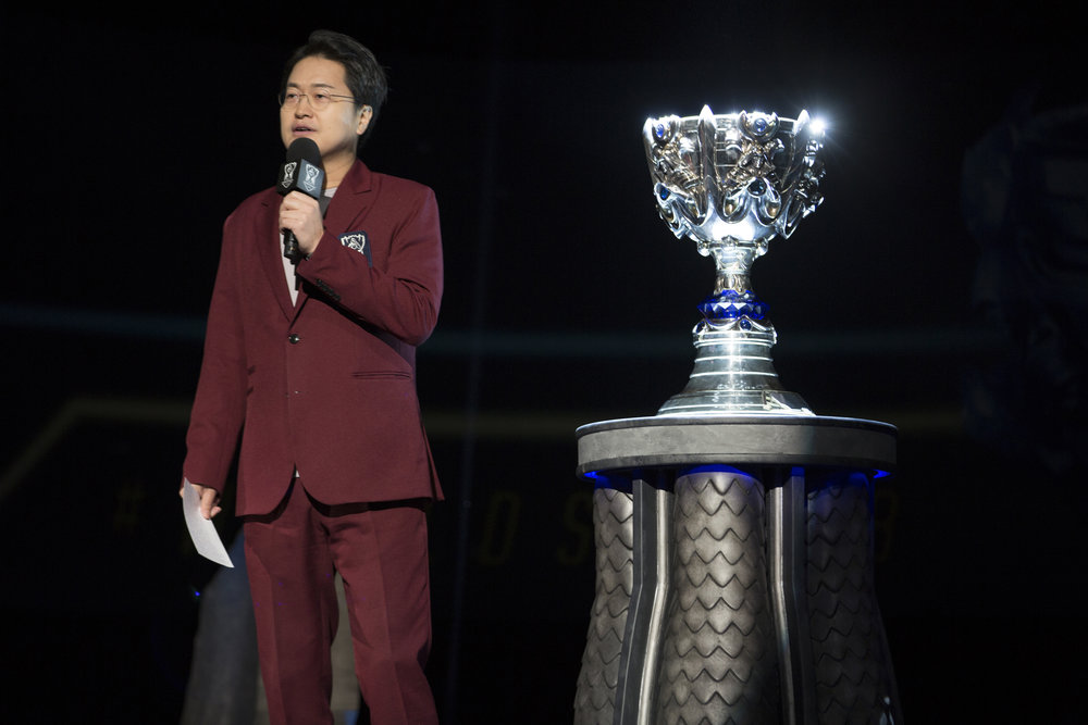 The trophy is seen on stage as Invictus Gaming are announced as winners at semifinals of the League Of Legends Worlds Championship on October 27, 2018 at the Gwangju Women's University Universiade Gymnasium in Gwangju, South Korea. (Photo by Timo Verdeil / ESPAT Media)