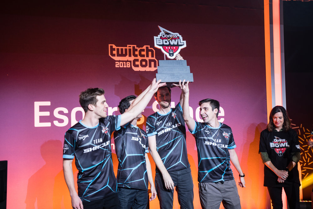 Team Shroud hoist trophy onstage at Doritos Bowl 2018 Call of Duty: Blackout Battle Royale tournament, TwitchCon at San Jose Convention Center on October 27, 2018 in San Jose, California.  Photo by: Eric Ananmalay / ESPAT Media