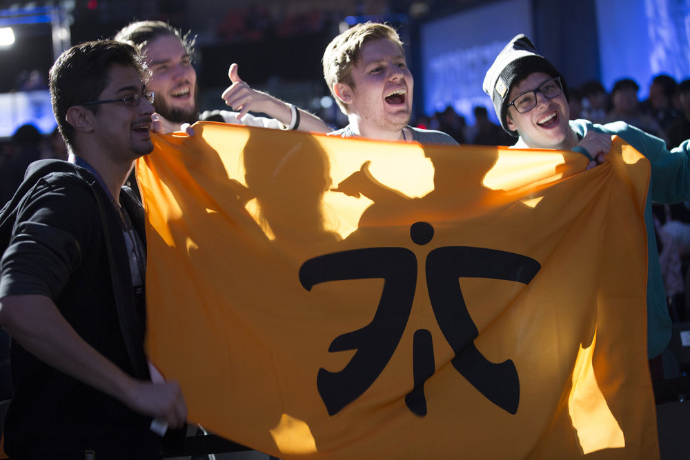 Fans showing off their Fnatic flag at semifinals of the League Of Legends Worlds Championship on October 28, 2018 at the Gwangju Women's University Universiade Gymnasium in Gwangju, South Korea.  Photo by Timo Verdeil / ESPAT Media