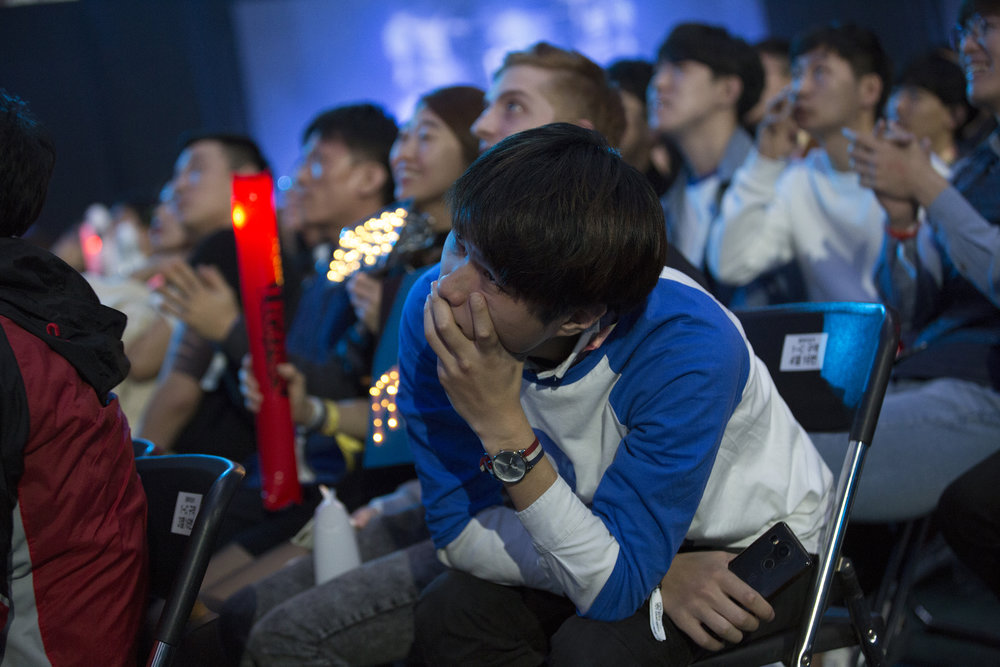Cloud9 fans watching it slip into Fnatic's hands at the semifinals of the League Of Legends Worlds Championship on October 28, 2018 at the Gwangju Women's University Universiade Gymnasium in Gwangju, South Korea.  Photo by Timo Verdeil / ESPAT Media