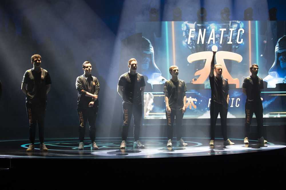 Fnatic being introduced before taking on Cloud9 at semifinals of the League Of Legends Worlds Championship on October 28, 2018 at the Gwangju Women's University Universiade Gymnasium in Gwangju, South Korea.  Photo by Timo Verdeil / ESPAT Media