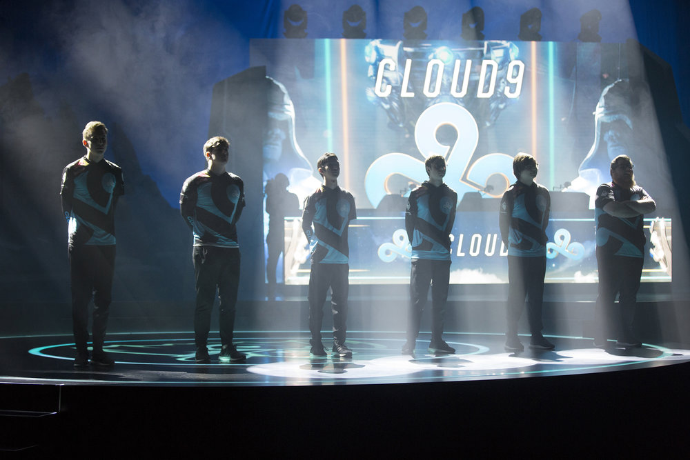 Cloud9 team being introduced before facing Fnatic at semifinals of the League Of Legends Worlds Championship on October 28, 2018 at the Gwangju Women's University Universiade Gymnasium in Gwangju, South Korea.  Photo by Timo Verdeil / ESPAT Media