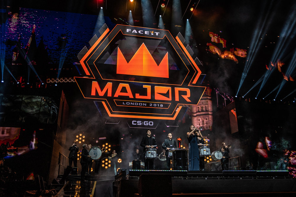 Band entertaining the crowd before Navi vs Astralis final starts. FaceIT Major at The SSE Arena, Wembley on September 23, 2018 in London, England.  Photo by Kieran Gibbs / ESPAT Media