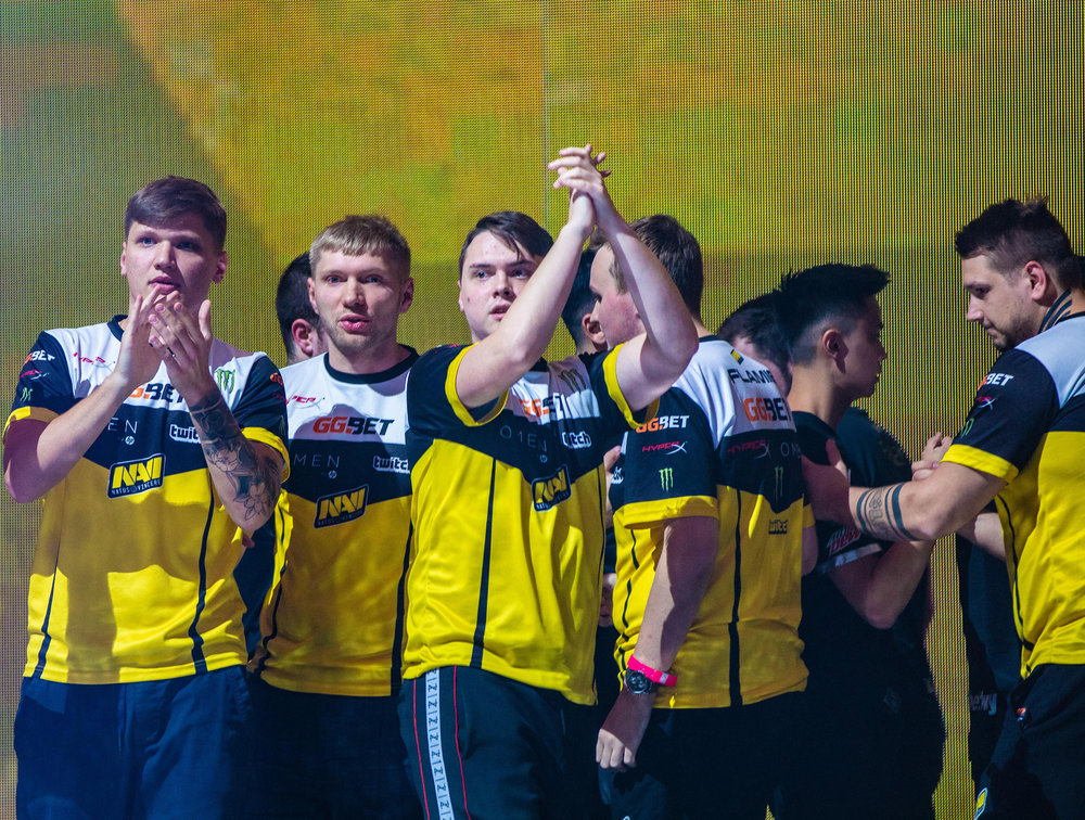 Na'Vi's celebrates victory against MiBR in the FaceIT Major Semi-Finals at The SSE Arena, Wembley on September 22, 2018 in London, England.  Photo by Kieran Gibbs / ESPAT Media
