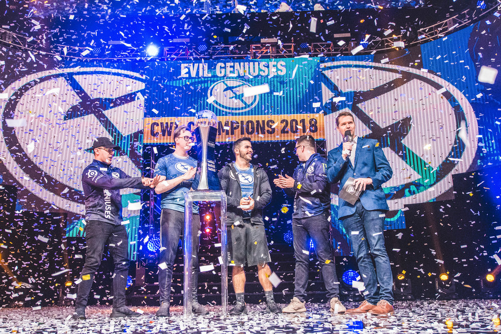 EvilGeniuses players onstage with confetti raining down to celebrate their victory over Team Kaliber, 2018 Call of Duty World League Championship at Nationwide Arena on August 19, 2018 in Columbus, Ohio.  Photo by Eric Ananmalay / ESPAT Media