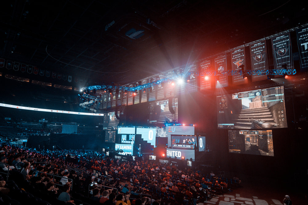 Luminosity Gaming and Eunited battling for position as crowd watches 2018 Call of Duty World League Championship at Nationwide Arena on August 19, 2018 in Columbus, Ohio.  Photo by Eric Ananmalay / ESPAT Media