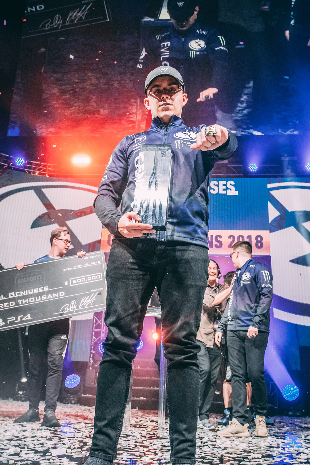 Evil Geniuses'u2019 Adam 'u201cAssault'u201d Garcia enjoying the MVP spotlight at 2018 Call of Duty World League Championship at Nationwide Arena on August 19, 2018 in Columbus, Ohio.  Photo by Eric Ananmalay / ESPAT Media