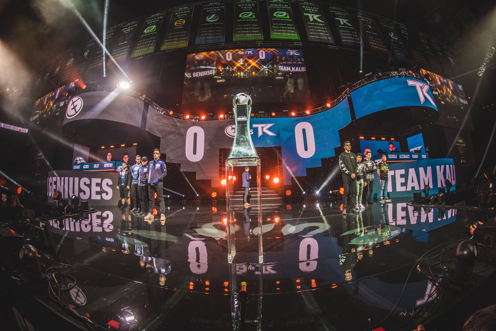 The stage is set with EvilGeniuses vs. Team Kaliber facing off for 2018 Call of Duty World League Championship at Nationwide Arena on August 19, 2018 in Columbus, Ohio.  Photo by Eric Ananmalay / ESPAT Media
