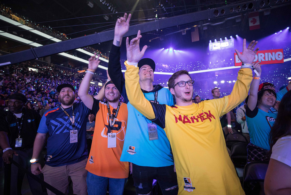 Overwatch League Grand Finals, London Spitfire and Philadelphia Fusion fans getting along during music performance at Barclays Center on July 27, 2018 in Brooklyn, New York.  Photo by Hannah Smith / ESPAT Media