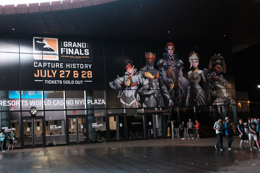 A general view outside Barclays Center after Philadelphia Fusion loses to London Spitfire during the Overwatch League Grand Finals 2018 at Barclays Center on July 27, 2018 in the Brooklyn borough of New York City.  Photo by JD Barnes / ESPAT Media