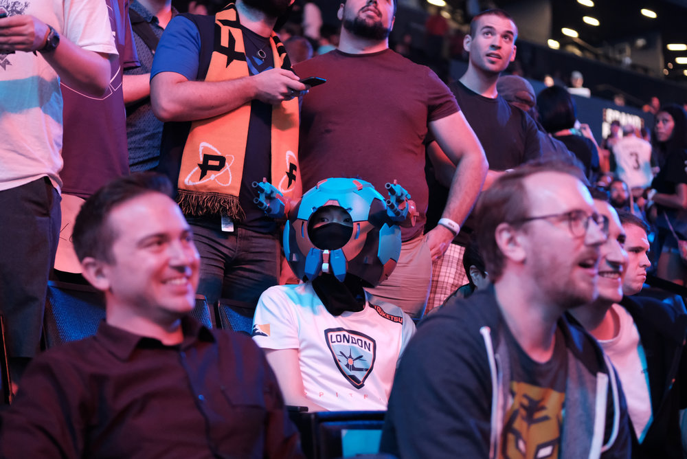 Overwatch League Grand Finals, fan in character watching London Spitfire vs Philadelphia Fusion at Barclays Center on July 27, 2018 in Brooklyn, New York.  Photo by JD Barnes / ESPAT Media