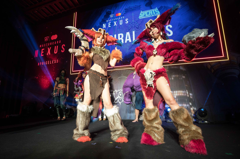 Cosplayers entertaining the fans at Mastercard Nexus, 2018 League of Legends World Championship on November 1, 2018 in Incheon, South Korea.  Photo by Hannah Smith / ESPAT Media for Mastercard