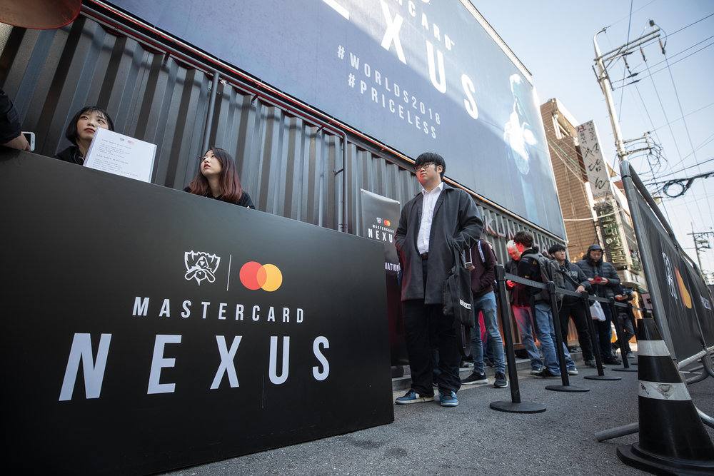 League of Legends fans line up to enter at Mastercard Nexus, 2018 League of Legends World Championship on November 1, 2018 in Incheon, South Korea.  Photo by Hannah Smith / ESPAT Media for Mastercard