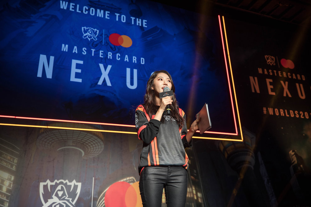 Hyunkyung Lee welcomes fans to Mastercard Nexus, 2018 League of Legends World Championship on November 1, 2018 in Incheon, South Korea.  Photo by Hannah Smith / ESPAT Media for Mastercard
