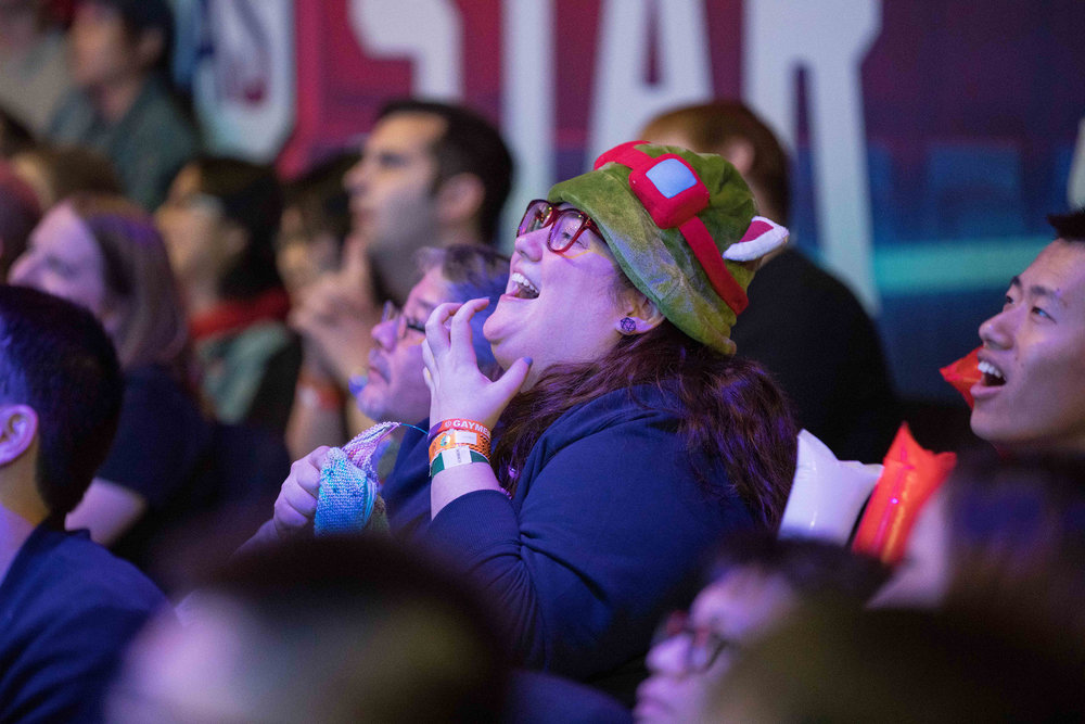 Fan in character hat showing frustration over lost round at League of Legends All-Star Event on December 8, 2018 in Las Vegas, Nevada.  Photo by Hannah Smith/ESPAT Media for Mastercard
