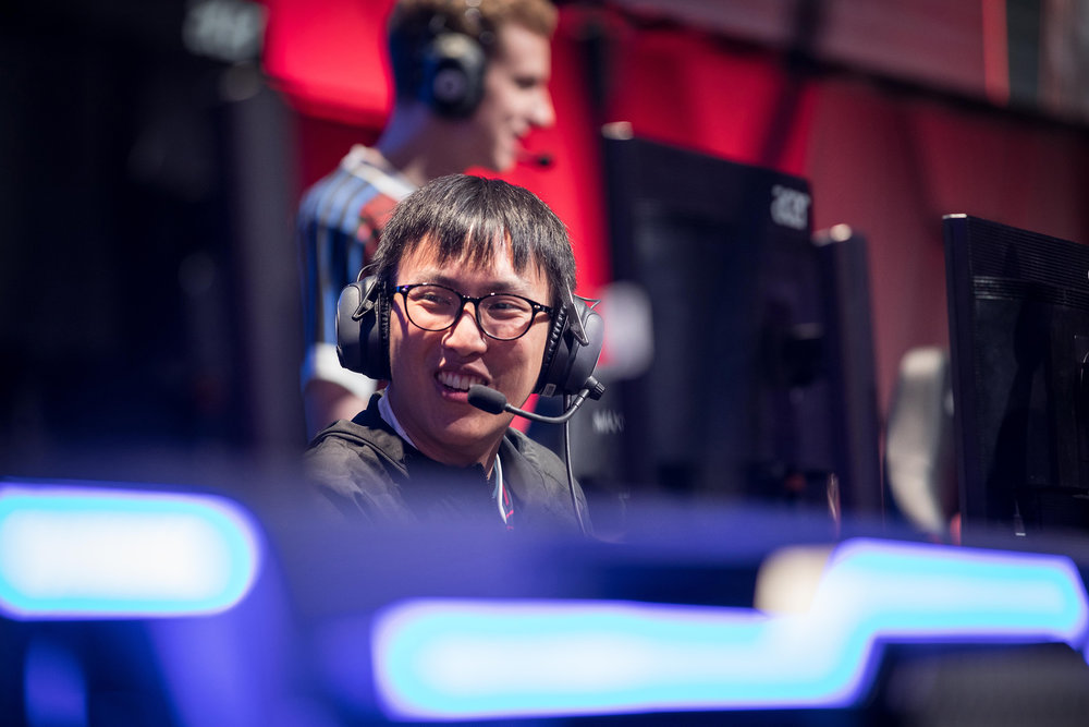 Professional gamer smiling at teammate at League of Legends All-Star Event on December 8, 2018 in Las Vegas, Nevada.  Photo by Hannah Smith/ESPAT Media for Mastercard