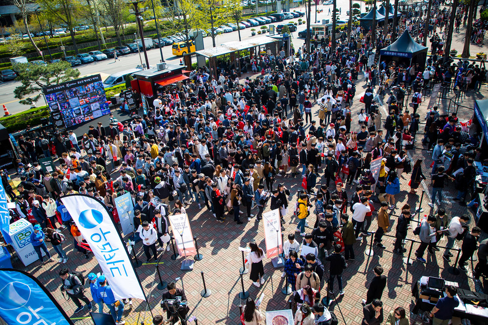 SEOUL, SOUTH KOREA - APRIL 13: Fans line up outside venue to enter match between SK Telecom T1 (wins 3-0) vs Griffin at LCK Spring Finals at Jamsil Sports Center on April 13, 2019 in Seoul, Korea. Photo by Timo Verdeil/ESPAT Media