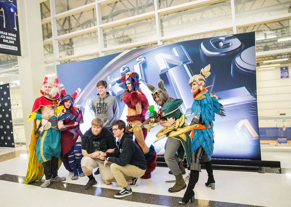 ST LOUIS, MO - APRIL 13: League of Legends characters welcoming fans at LCS Spring Finals at Chaifetz Arena on April 13, 2019 in St Louis, Missouri. Photo by David Doran/ESPAT Media