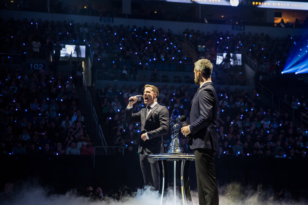 ST LOUIS, MO - APRIL 13: Casters on stage with trophy making introductions at LCS Spring Finals at Chaifetz Arena on April 13, 2019 in St Louis, Missouri. Photo by David Doran/ESPAT Media