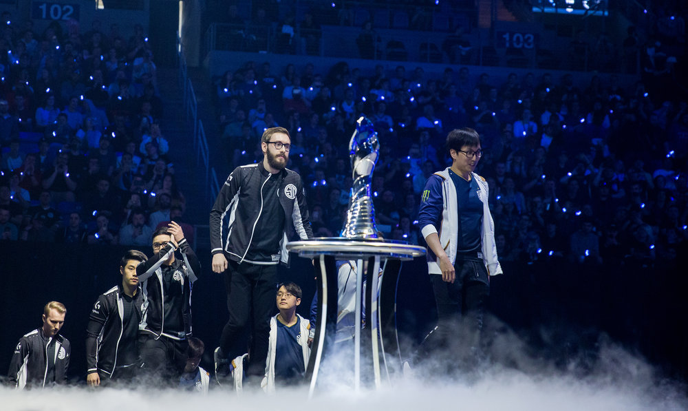 ST LOUIS, MO - APRIL 13: Team Liquid and Team SoloMid on stage with trophy at LCS Spring Finals at Chaifetz Arena on April 13, 2019 in St Louis, Missouri. Photo by David Doran/ESPAT Media