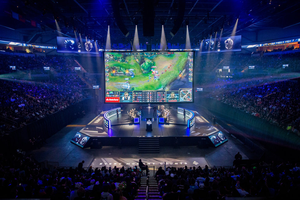 ST LOUIS, MO - APRIL 13: Stage with screen displaying the gmaeplay action at LCS Spring Finals at Chaifetz Arena on April 13, 2019 in St Louis, Missouri. Photo by David Doran/ESPAT Media
