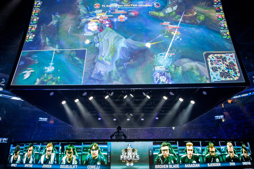 ST LOUIS, MO - APRIL 13: Stage displaying teams and all the gameplay action at LCS Spring Finals at Chaifetz Arena on April 13, 2019 in St Louis, Missouri. Photo by David Doran/ESPAT Media