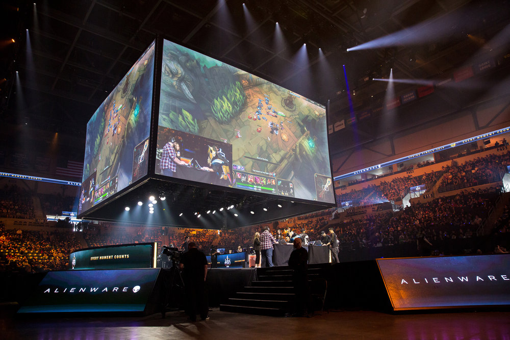 ST LOUIS, MO - APRIL 13: On stage, screen and crowd at LCS Spring Finals at Chaifetz Arena on April 13, 2019 in St Louis, Missouri. Photo by David Doran/ESPAT Media