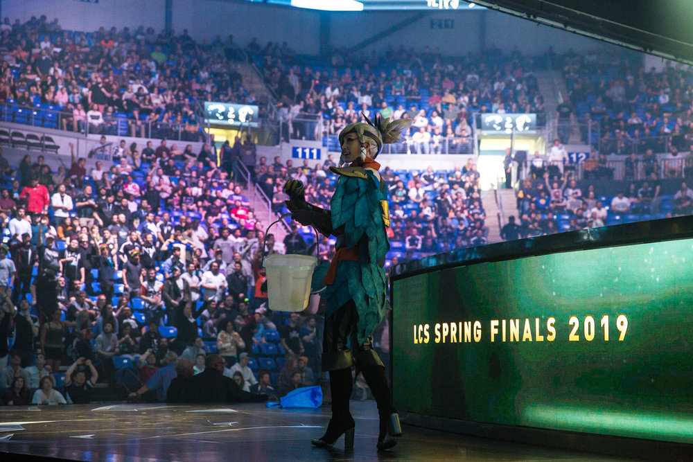 ST LOUIS, MO - APRIL 13: League of Legends character on stage at LCS Spring Finals at Chaifetz Arena on April 13, 2019 in St Louis, Missouri. Photo by David Doran/ESPAT Media