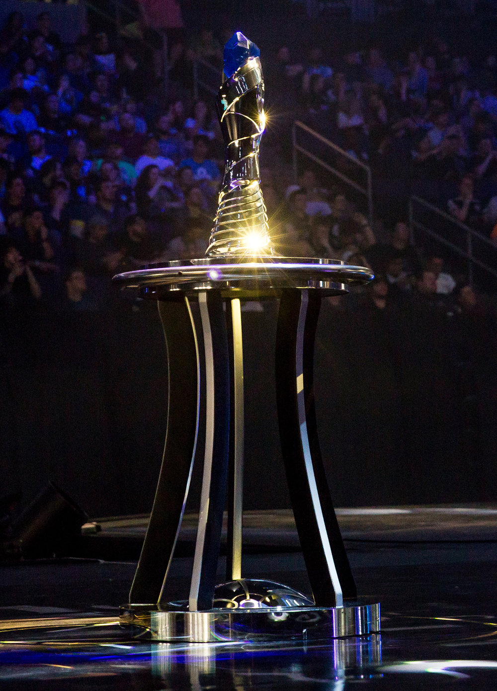 ST LOUIS, MO - APRIL 13:Trophy on stage ready to be presented at LCS Spring Finals at Chaifetz Arena on April 13, 2019 in St Louis, Missouri. Photo by David Doran/ESPAT Media