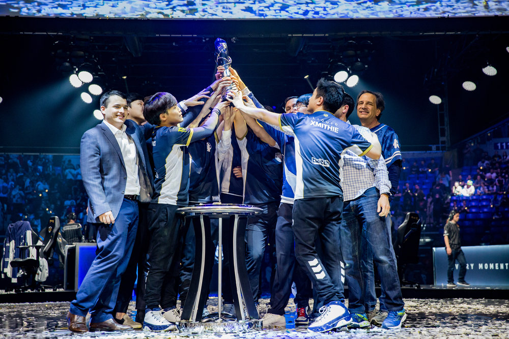 ST LOUIS, MO - APRIL 13: Team Liquid celebrating on stage with trophy after 3-2 win over Team SoloMid at LCS Spring Finals at Chaifetz Arena on April 13, 2019 in St Louis, Missouri. Photo by David Doran/ESPAT Media